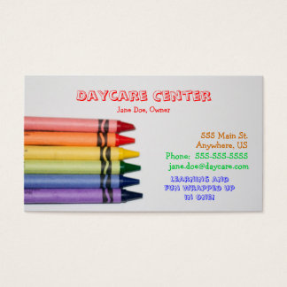 Daycare Crayons Template Business Card