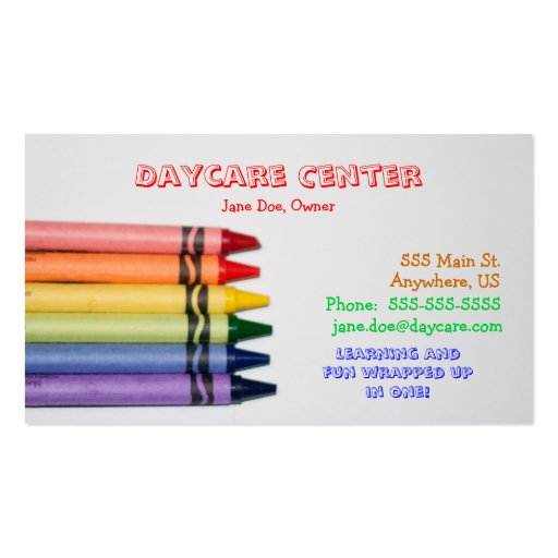 Daycare Crayons Template Business Cards