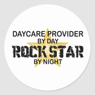 Daycare Provider Rock Star Round Sticker