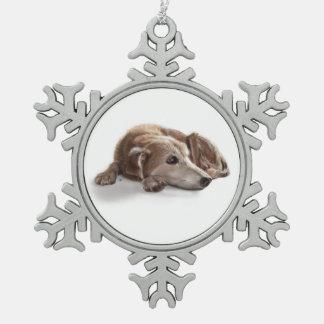 Daydreaming Dog Illustration Pewter Snowflake Decoration