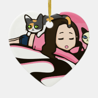 Daydreaming with the Cats Ceramic Heart Decoration