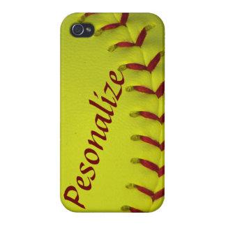 Dayglo Yellow Personalized Softball / Baseball iPhone 4/4S Case