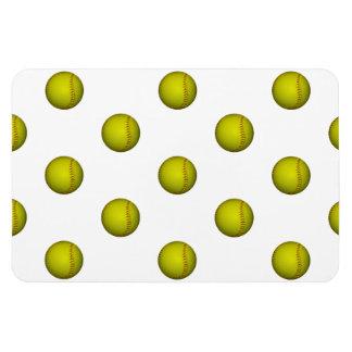 Dayglo Yellow Softball Pattern Rectangular Photo Magnet