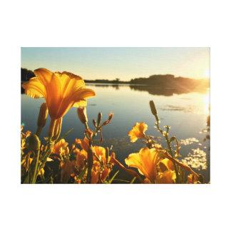 """Daylilies @Sunset     25""""x18"""" Canvas Print"""