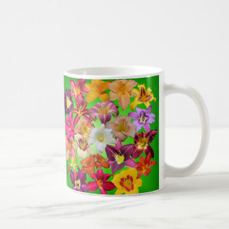 Daylily Collage on Green Coffee Mug