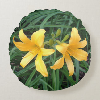 "DAYLILY ""Downey"" Gold Duo --- Round Cushion"