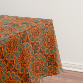 Daylily Orange Mandala Tablecloth