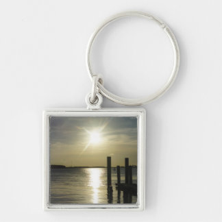 Days End At Cooper River Silver-Colored Square Key Ring