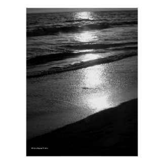 Day's End at Dog Beach Huntington CA  B/W Poster