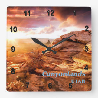 Days End Candlestick Tower Overlook Canyonlands NP Square Wall Clock