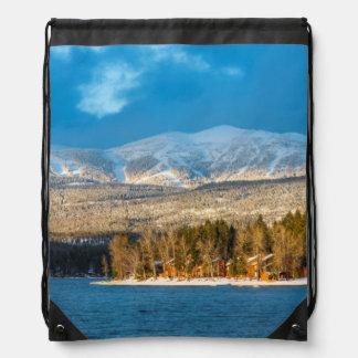 Days Last Light Shines On Ski Runs Of Whitefish Drawstring Bags