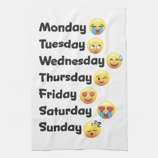 Days of the Week Emoji Kitchen Dish Towel