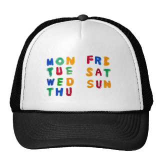 Days of the week trucker hats