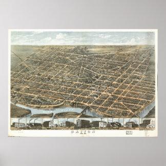 Dayton Ohio 1870 Antique Panoramic Map Poster