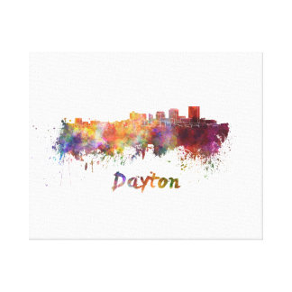 Dayton skyline in watercolor canvas print