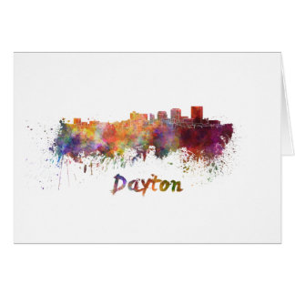 Dayton skyline in watercolor card