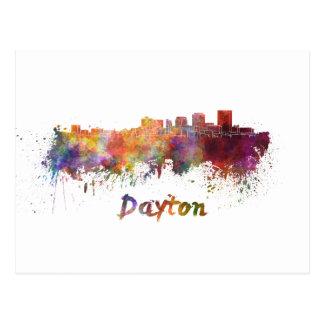 Dayton skyline in watercolor postcard