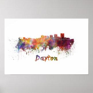 Dayton skyline in watercolor poster