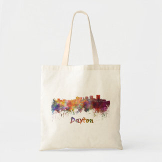 Dayton skyline in watercolor tote bag