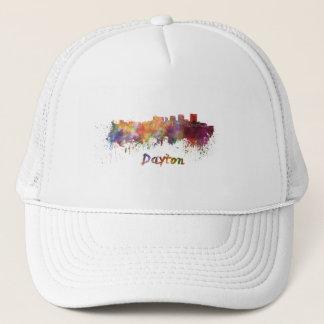 Dayton skyline in watercolor trucker hat