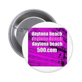 Daytona Beach 500 on Fuchsia Tire Tracks Pinback Buttons