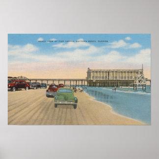Daytona Beach, FL - Beach View of Pier Casino Poster