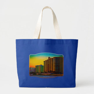 Daytona Beach Shores Coastal Resorts Framed Art Jumbo Tote Bag