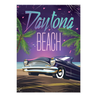 Daytona Beach Vintage Car Travel poster Photographic Print