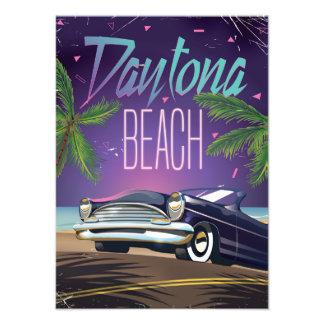 Daytona Beach Vintage Car Travel poster Photographic Print