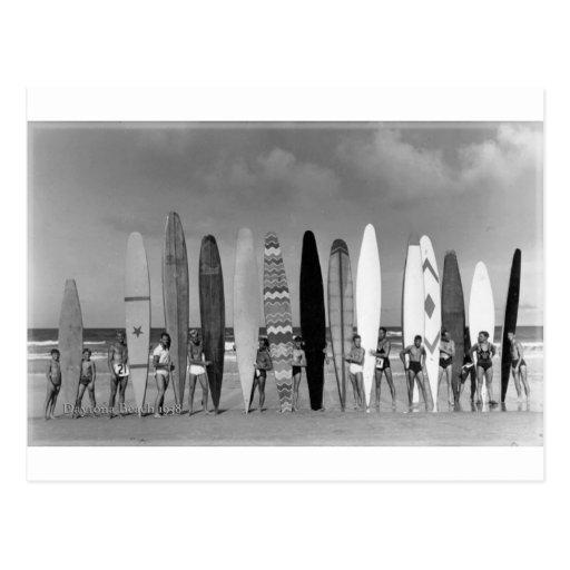 Daytona Beach Vintage long board Surf Group Photo Postcards