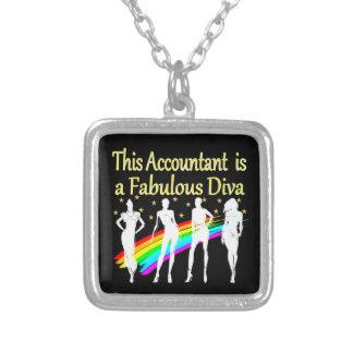 DAZZLING ACCOUNTANT DIVA DESIGN SILVER PLATED NECKLACE