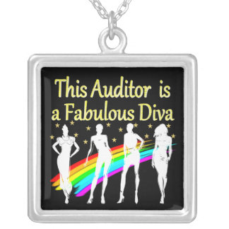 DAZZLING AUDITOR DIVA DESIGN SILVER PLATED NECKLACE