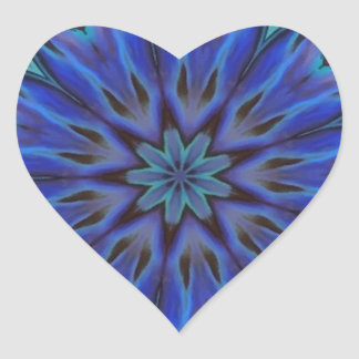 Dazzling Blue Abalone Mother of Pearl Mandala Heart Sticker