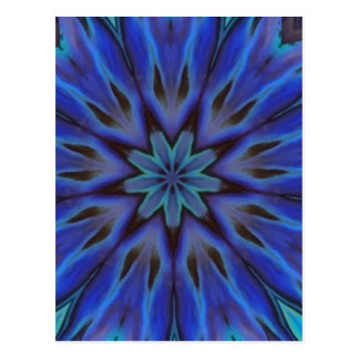 Dazzling Blue Abalone Mother of Pearl Mandala Postcard