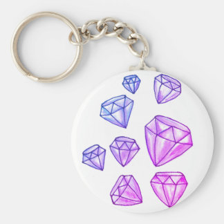 Dazzling Diamond Button Key Chain