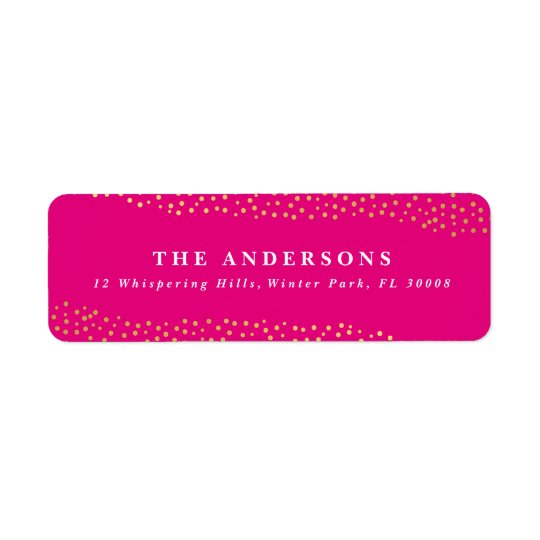 Dazzling dots faux foil return address label