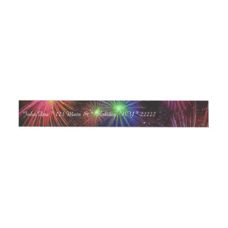 Dazzling Fireworks Wraparound Address Label