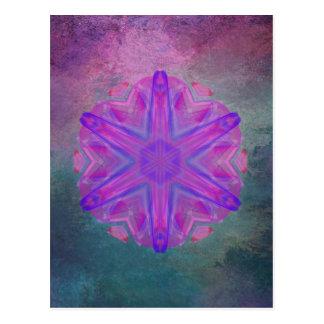 Dazzling pink kaleidoscope vertical postcard