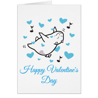 DBY in Blue Hearts Sky Happy Valentine's Day Card