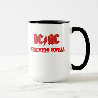 DC AC Dislexic Metal Mug