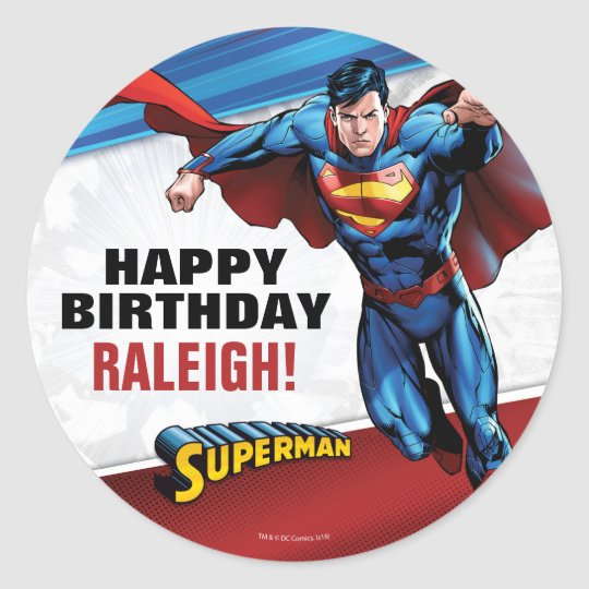 Dc comics superman birthday classic round sticker