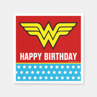 DC Comics   Wonder Woman Logo   Happy Birthday Disposable Napkin