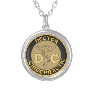 DC LOGO DOCTOR CHIROPRACTIC CADUCEUS ROUND PENDANT NECKLACE
