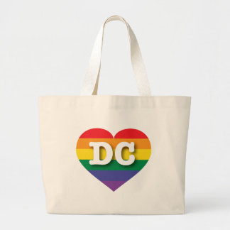 DC rainbow pride heart Canvas Bags