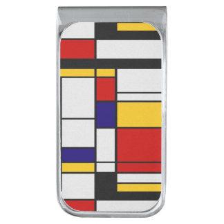 De Stijl Mondrian Silver Finish Money Clip