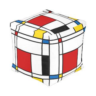 De Stijl Pattern Cube Pouf