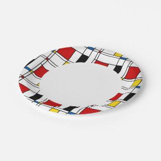 De Stijl Pattern 7 Inch Paper Plate