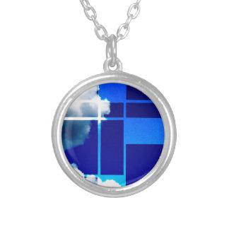 De Stijl Sky Silver Plated Necklace