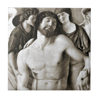 Dead Christ Between Two Angels by Giovanni Bellini Small Square Tile