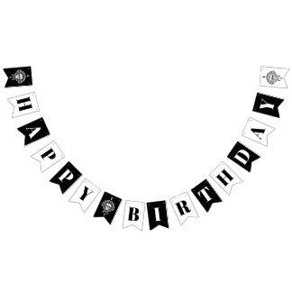 Dead Damask Black & White Happy Birthday Banner